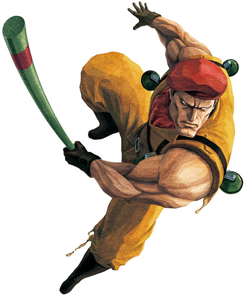 Rolento Sugerg (Street Fighters / Final Fight) swinging his stick