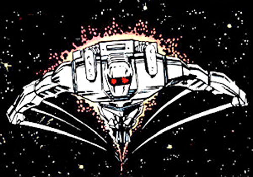 Rom the Space Knight (Marvel Comics) flying in space