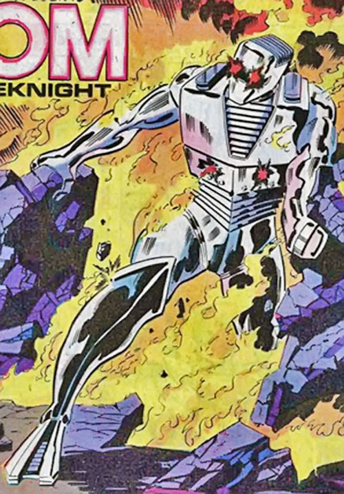 Rom the Space Knight (Marvel Comics) on fire after reaching Earth
