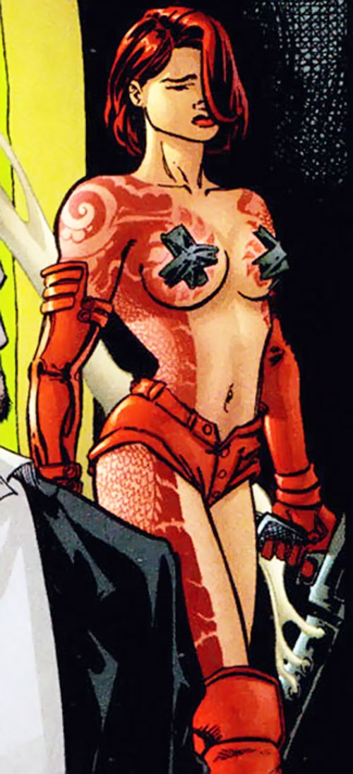 Rose Tattoo (Stormwatch comics) with black tape over her tits