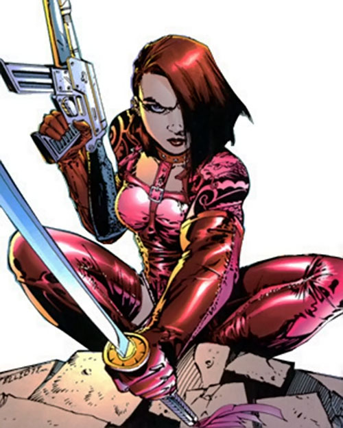Rose Tattoo (Stormwatch comics) crouching with weapons