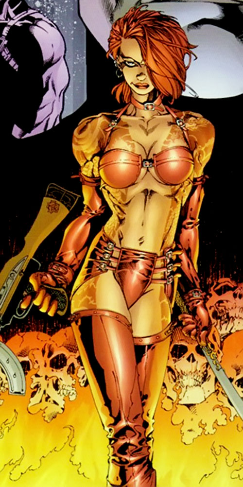 Rose Tattoo (Stormwatch comics) with weapons among burning skulls