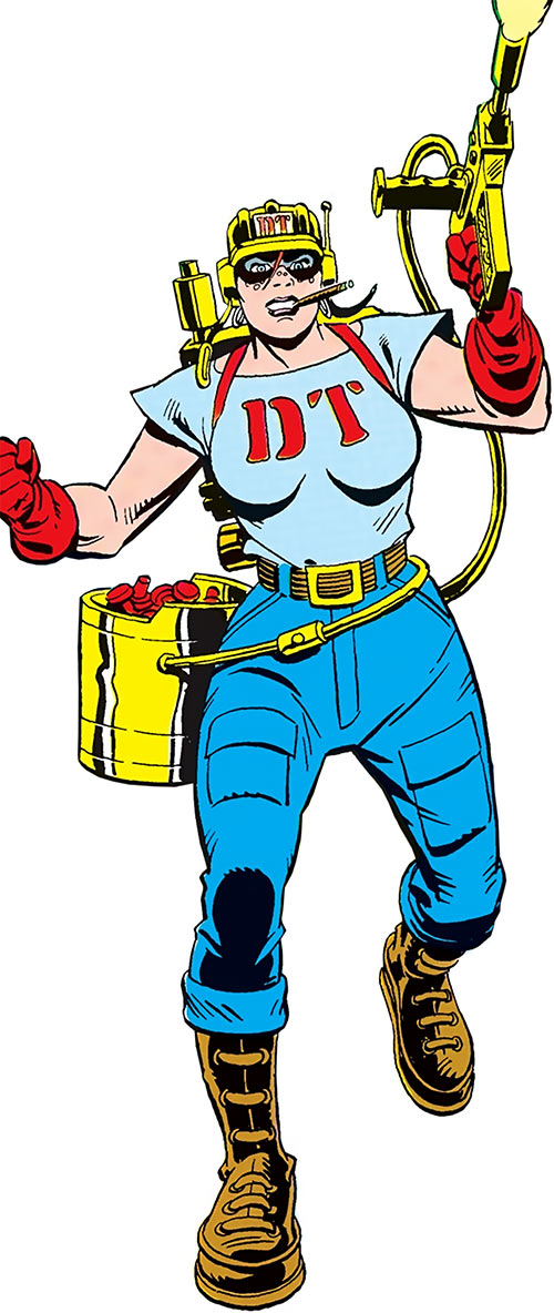 Rosie of the Demolition Team (DC Comics) over a white background