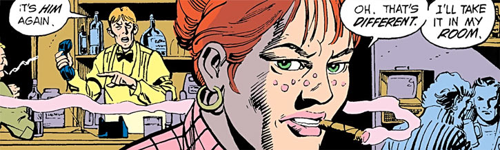 Rosie of the Demolition Team (DC Comics) face closeup in her pub