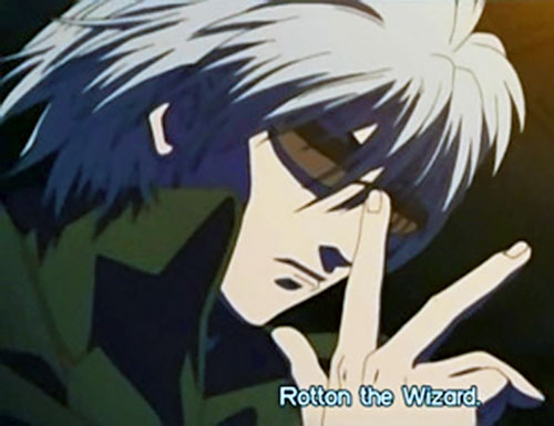 Rotton the Wizard (Black Lagoon) adjusting his glasses