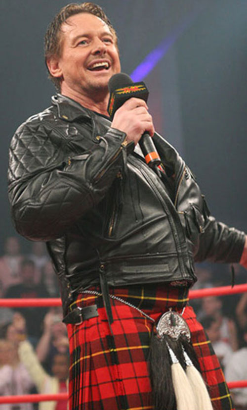 Rowdy Roddy Piper on the mike, in a kilt