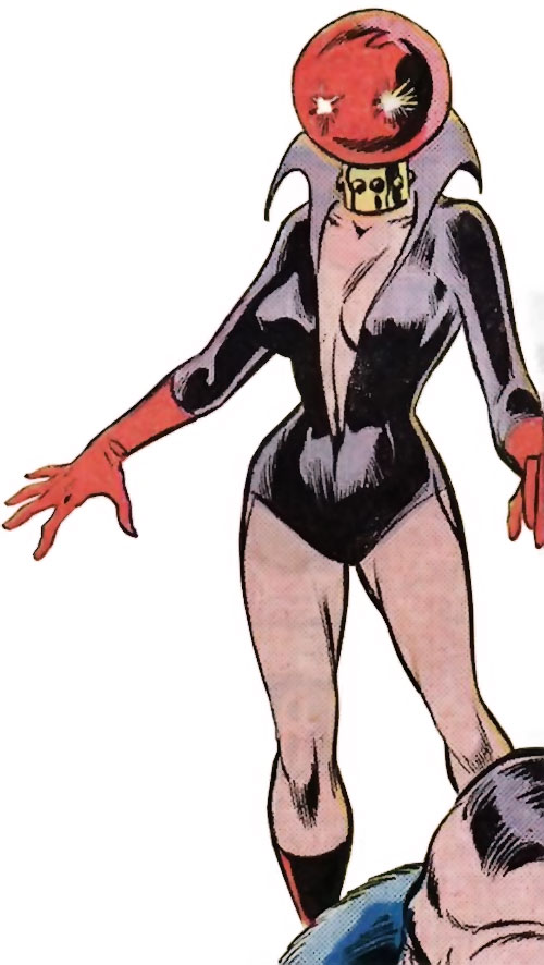 "Ruby Thursday (Marvel Comics) with glowing ""eyes"""