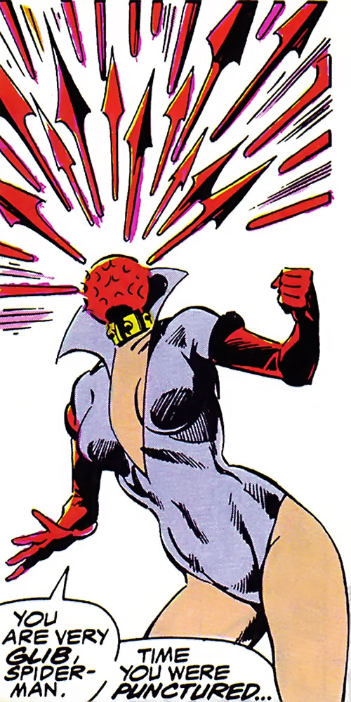 Ruby Thursday (Marvel Comics) shoots a volley of arrows from her head