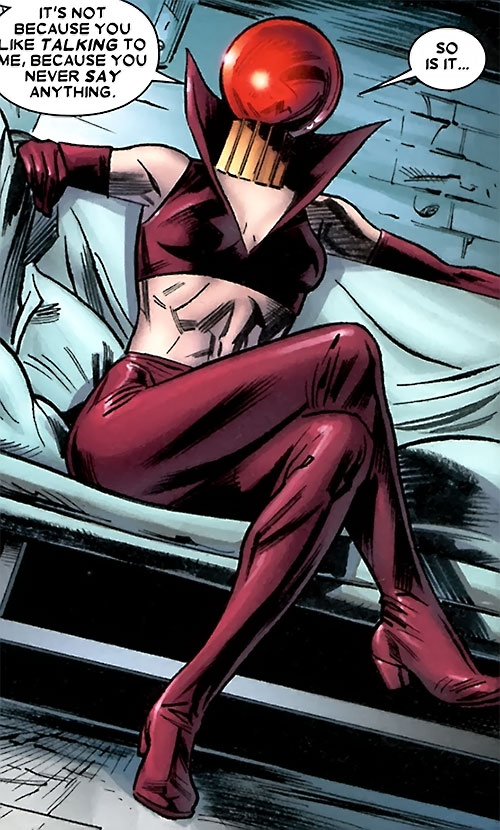 Ruby Thursday (Marvel Comics) in dark pink tight leather