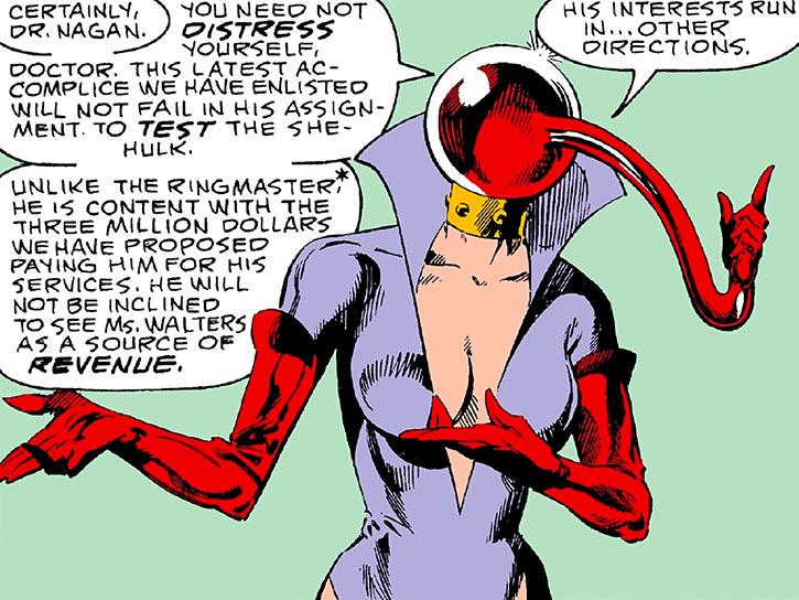 Ruby Thursday explaining things (Marvel Comics)