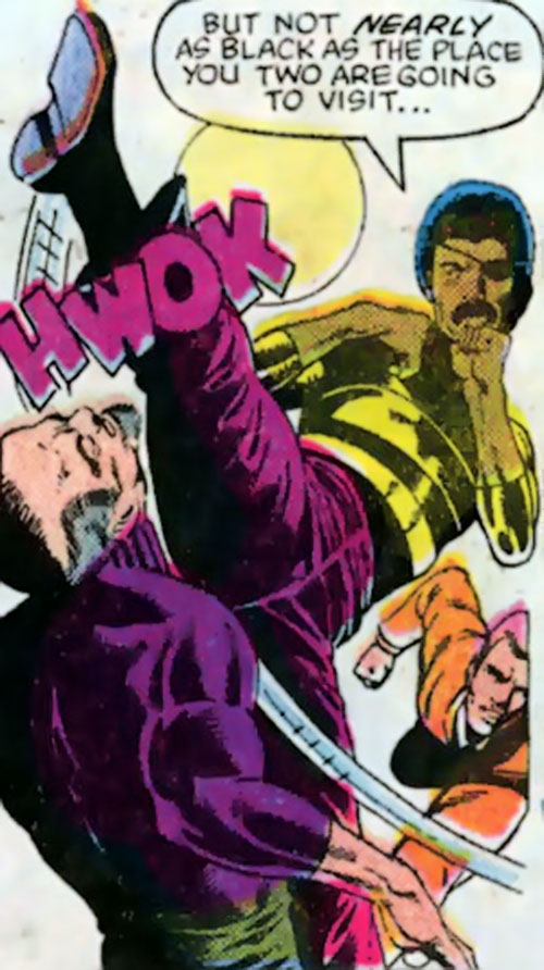 "Rufus ""Super-Midnight"" Carter (Master of Kung-Fu ally) (Marvel Comics) does a high kick"
