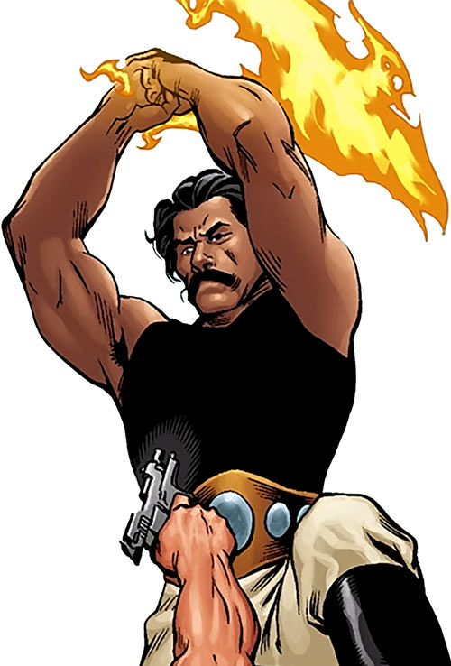 Rustam (Suicide Squad enemy) (DC Comics) with flame scimitar raised