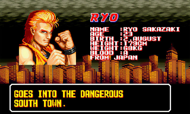 Ryo Sakazaki goes into dangerous South Town
