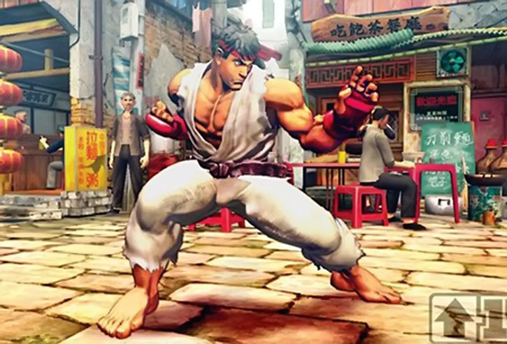 Ryu fighting in a cobbled street