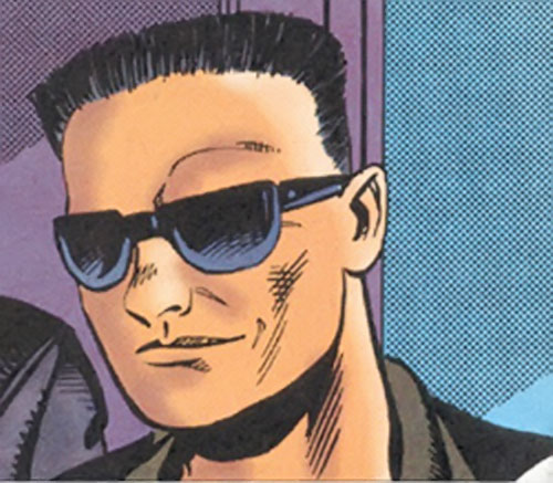 Japanese man with sunglasses in a comic book