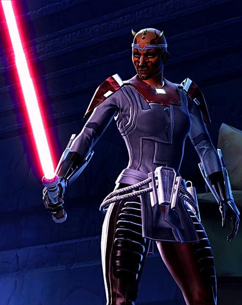 Star Wars the Old Republic -SWTOR - Female Zabrak Sith knight - Red lightsabre