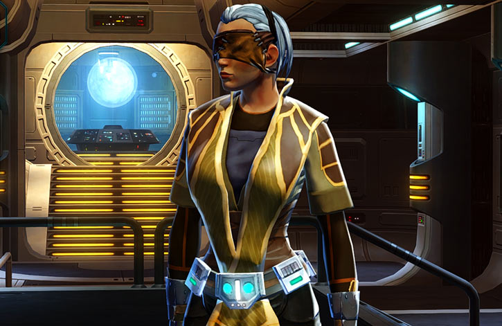 Sabra Shulvu - Jedi Knight - SWTOR - in a spaceship