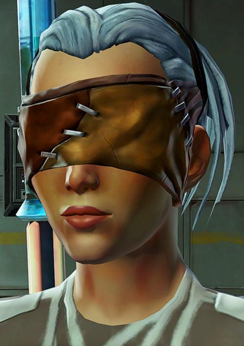 Star Wars Old Republic - Sabra Shulvu silent Jedi knight - Face closeup with mask