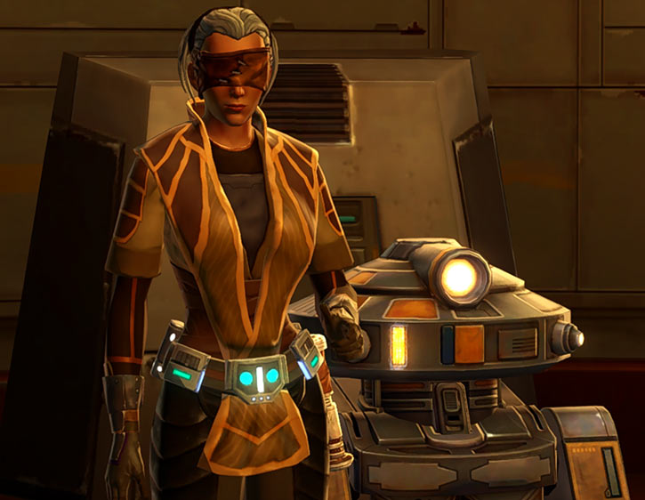 Star Wars Old Republic - Sabra Shulvu silent Jedi knight - Smirk, T7 droid, golden light