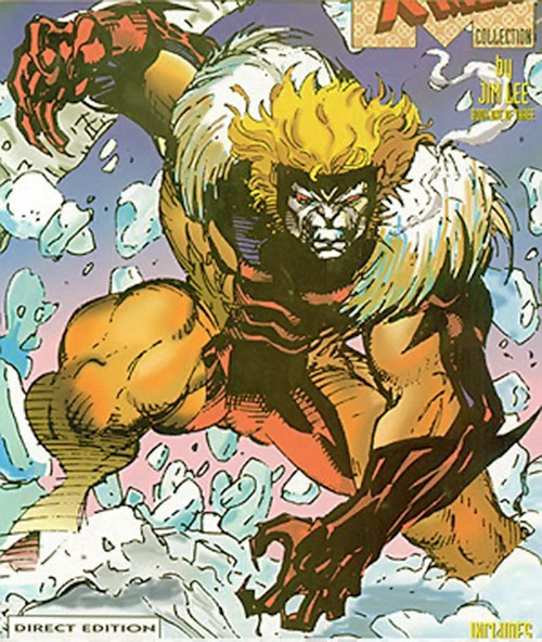 Sabretooth (Wolverine enemy) (Marvel Comics) in snow during the 1990s
