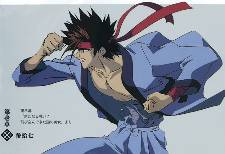 Sagara Sanosuke fighting over a light gray background