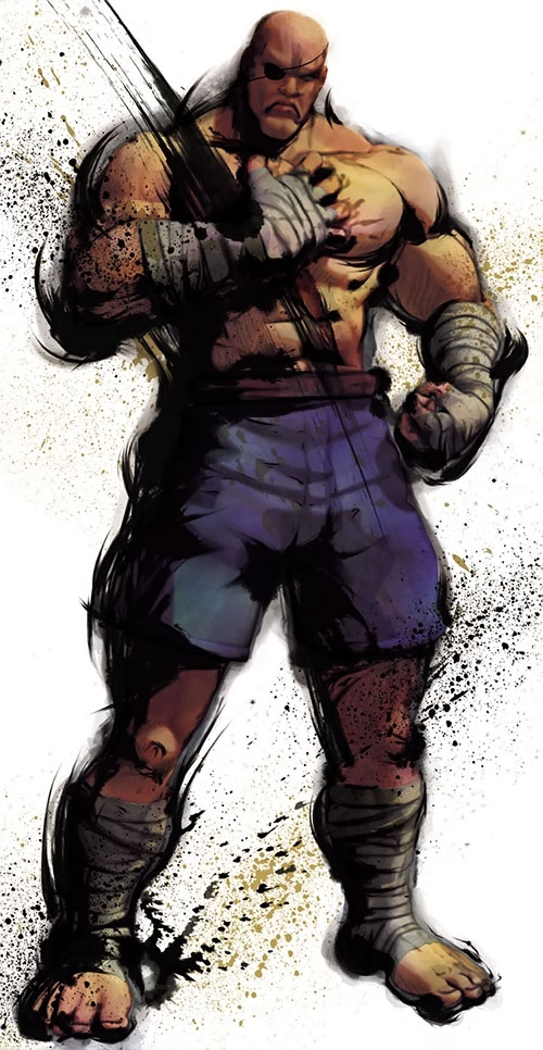 Sagat from Street Fighter with his hand on his chest