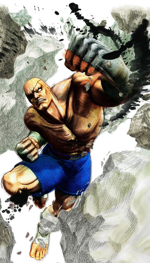 Sagat from Street Fighter splashy art