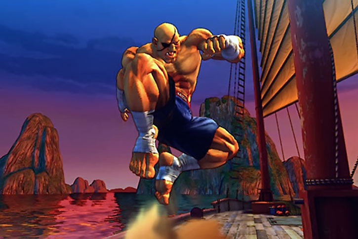 Sagat fighting aboard a junk boat