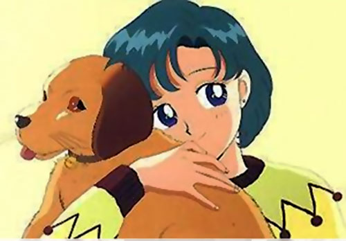 Sailor Mercury (Sailor Moon ally) with her dog