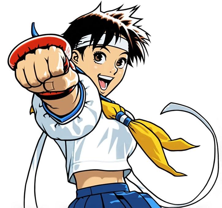 Sakura Kasugano looking very enthusiastic, on a white background