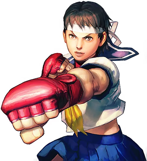 Sakura Kasugano (Street Fighter) punching