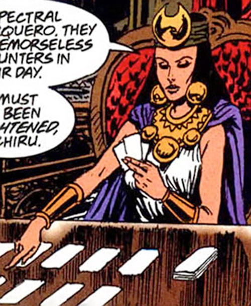 Salamanca of Super-Malon (DC Comics) doing a cards reading