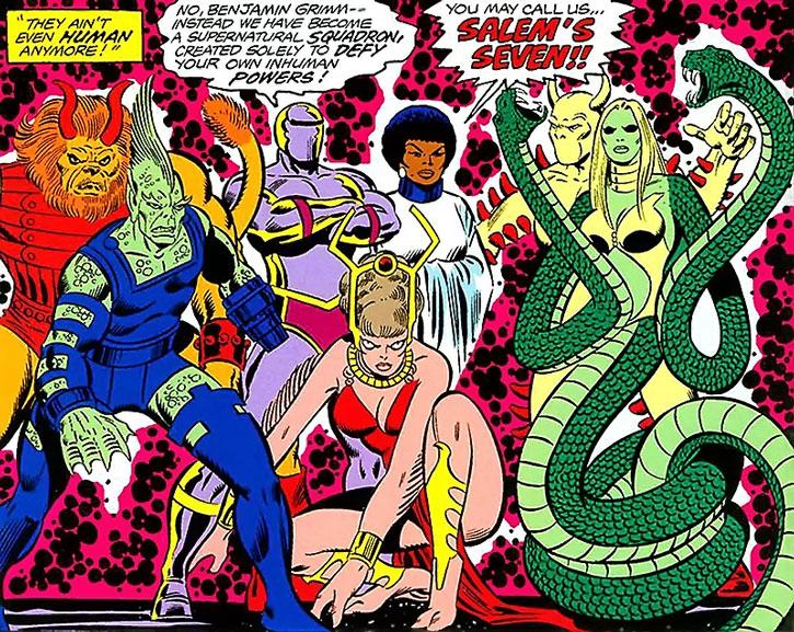 The Salem Seven in superhuman form, group shot
