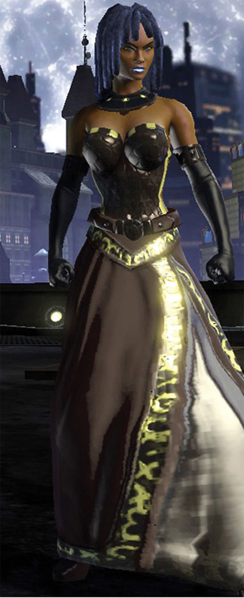 Salwa of Bana-Mighdall (DC Universe Online) with a shiny long skirt