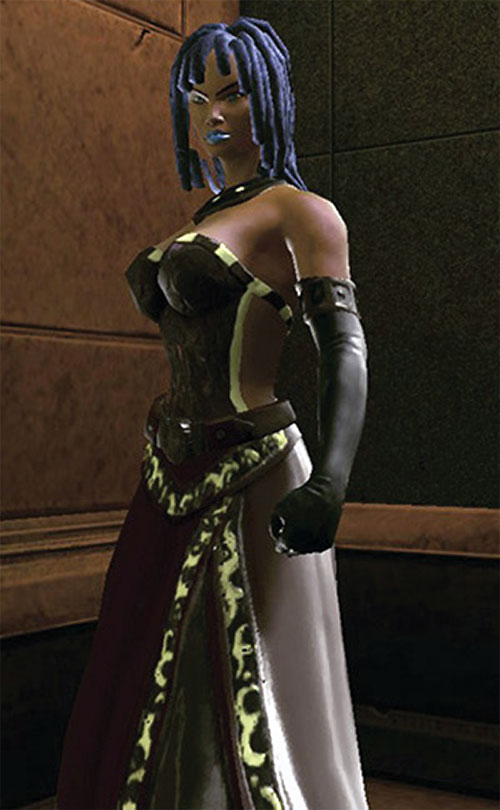 Salwa of Bana-Mighdall (DC Universe Online) in an elaborate dress