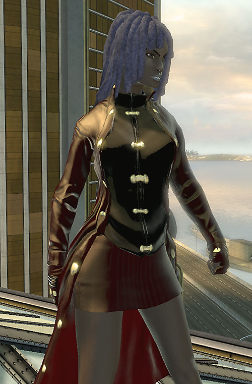 Salwa of Bana-Mighdall (DC Universe Online) above a seaside speedway