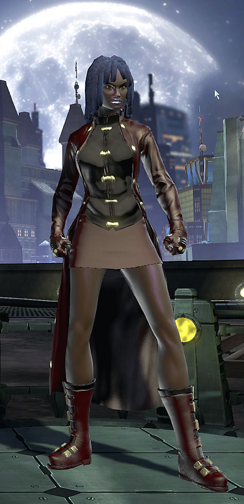 Salwa of Bana-Mighdall (DC Universe Online) on a rooftop with the moon