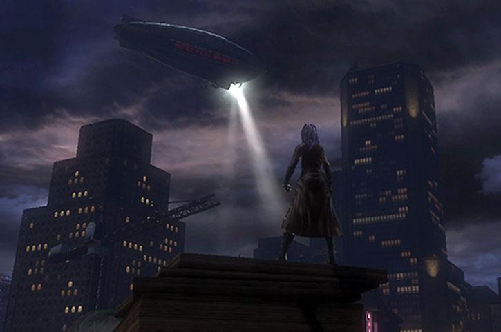Salwa on a Gotham City rooftop