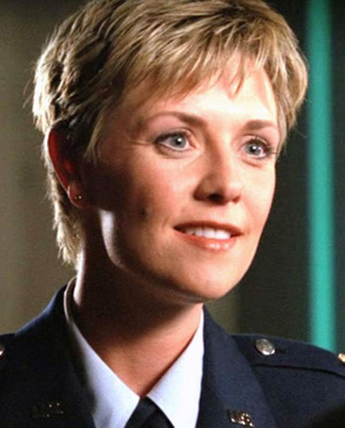 Samantha Carter (Amanda Tapping in Stargate SG-1) in her dress blues