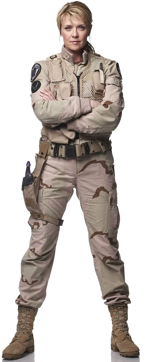 Samantha Carter (Amanda Tapping in Stargate SG-1) in a desert uniform