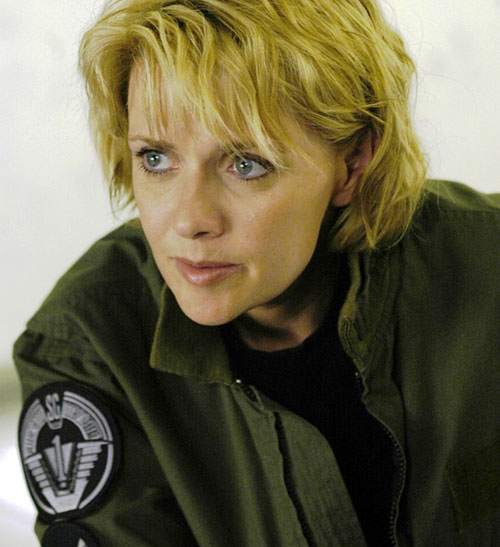 Samantha Carter (Amanda Tapping in Stargate SG-1) looking inquisitive
