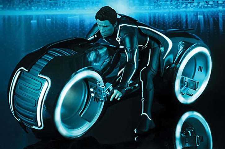 Sam Flynn (Garrett Hedlund) on a lightcycle