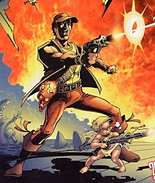 Sam Slade Robo-Hunter (2000AD Comics) shooting, and a baby too