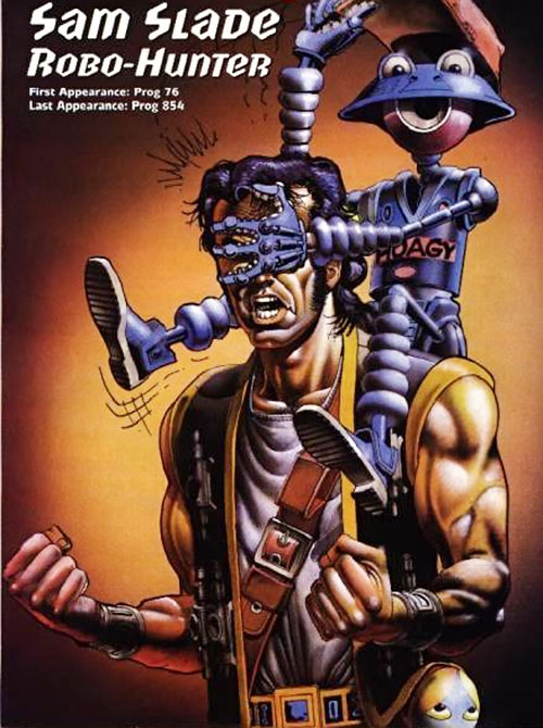 Sam Slade Robo-Hunter (2000AD Comics) with a robot playing a prank