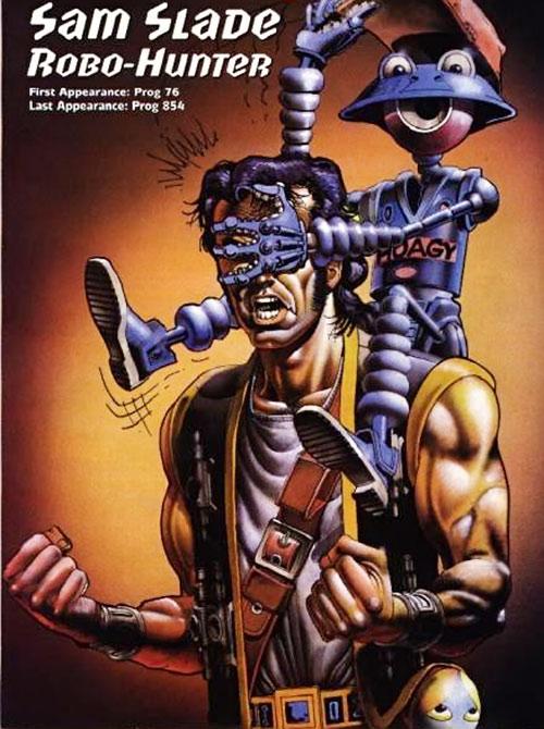 Sam Slade Robo-Hunter (2000AD Comics) with a robot playing a prank