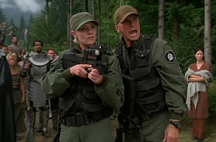 Samantha Carter (Amanda Tapping) with a FN personal defense weapon