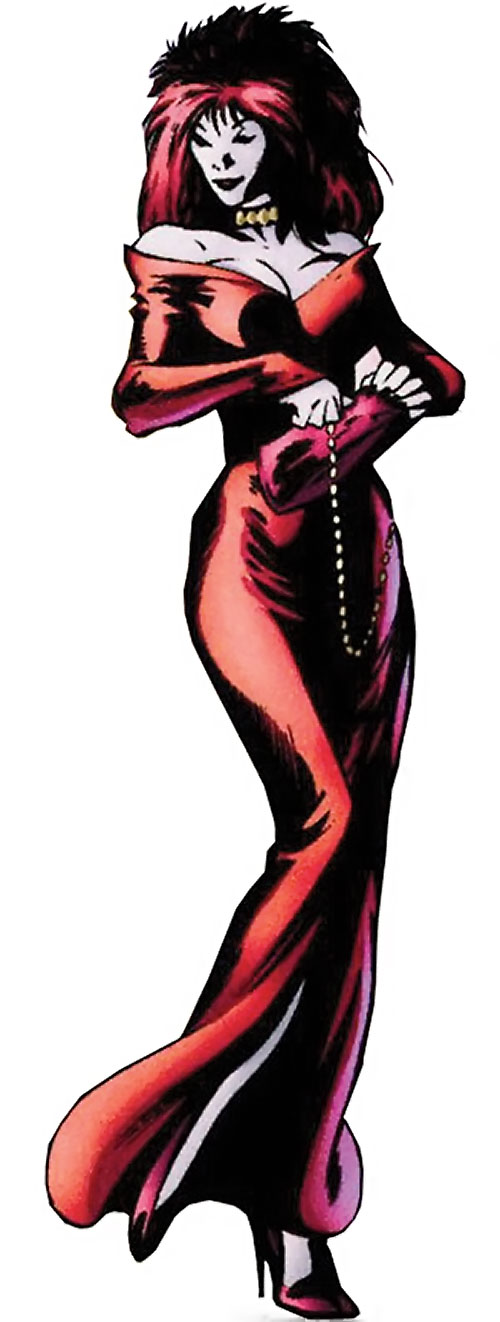 Samantha Destine Argent of Clan Destine (Marvel Comics) in a red cocktail dress
