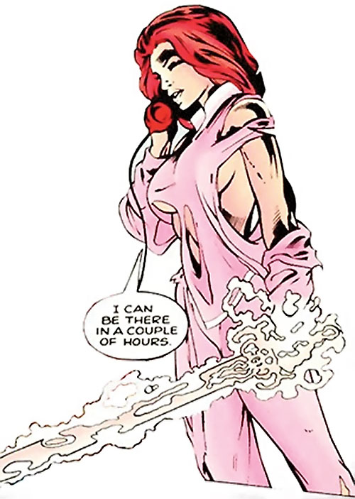 Samantha Destine Argent of Clan Destine (Marvel Comics) unsummoning her sword