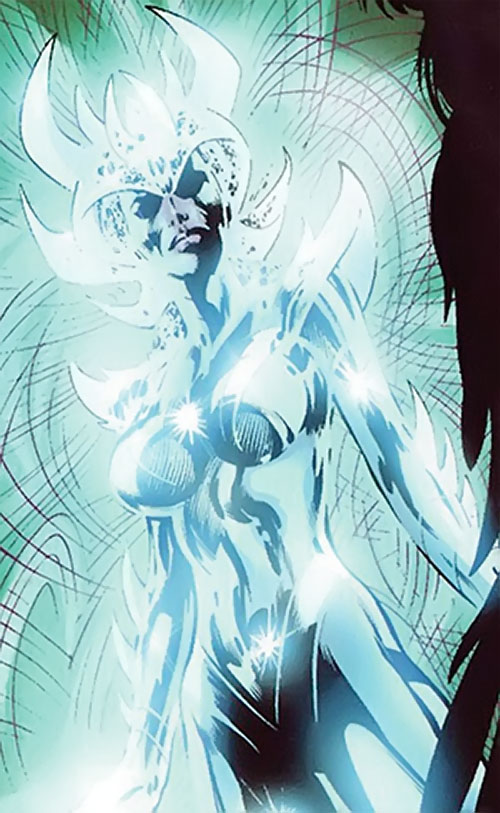 Samantha Destine Argent of Clan Destine (Marvel Comics) bathed in energy