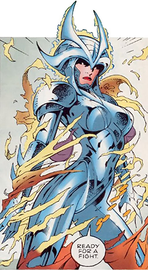 Samantha Destine Argent of Clan Destine (Marvel Comics) activating her armor
